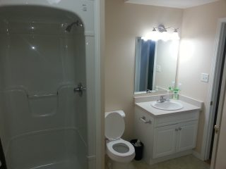 Residential full bathroom renovation with one piece shower enclosure.