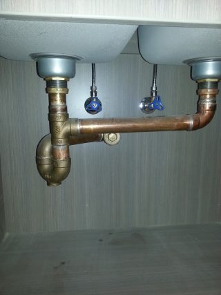 Commercial double sink installation.