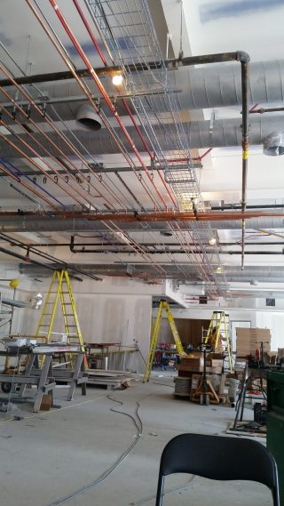 Commercial plumbing installation for potable water, and heating.