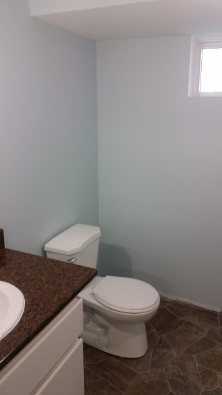Residential basement bathroom renovation with toilet and sink installation.